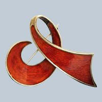 Estate Sterling Norway Enamel Wood Grain Pin