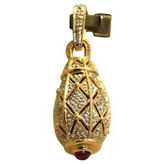 Estate 14K Diamond Encrusted Egg Pendant with Ruby Finial