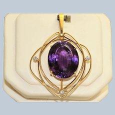 Estate 18K Modernist Amethyst and Diamond Pendant