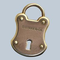 Estate Retired Tiffany Lock Charm Pendant