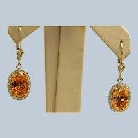 14K Estate Citrine and Diamond Dangle Earrings