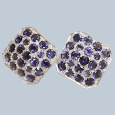 Estate 14K Iolite and Diamond Checker Board Omega Earrings, Italy