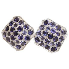 Estate 14K Iolite and Diamond Checker Board Omega Earrings, Italy