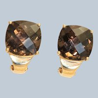 Estate 10K Smokey Quartz Omega Earrings
