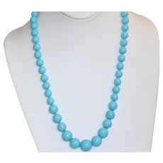 "Estate 14K 22"" Graduated Turquoise Necklace"