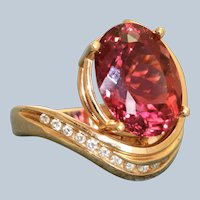 Estate @8 CT Oval Raspberry Tourmaline and Diamond Dinner Ring