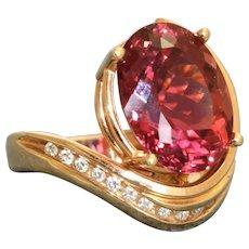 Estate @8 CT Oval Raspberry Tourmaline and Diamond Dinner Ring