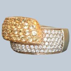 Estate 14K Yellow Sapphire and White Diamond ByPass Ring