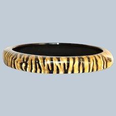 Estate Black Lacquer and Gold Zebra Lucite Bangle