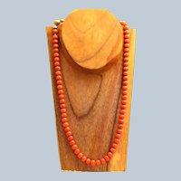 Estate 14K 8 mm Coral Bead Necklace