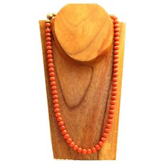 Estate 14K 9 mm Bead Coral Necklace
