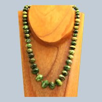 "Estate Sterling 18"" Graduated Green Turquoise Necklace"