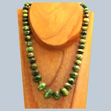 """Estate Sterling 18"""" Graduated Green Turquoise Necklace"""