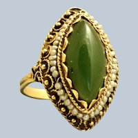 Estate 14K Jade and Seed Pearl Ring