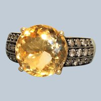 Estate 10K 6.6 CT Citrine and Chocolate Diamond Ring