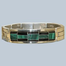 Estate Inlaid Onyx and Malachite Sterling Bracelet, Mexico