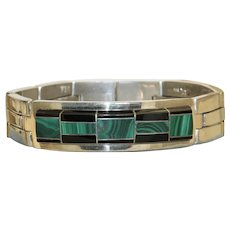 Estate Inlaid Onyx and Malachite Sterling Bracelet, Mexico