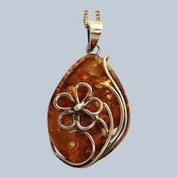 """19"""" Estate Sterling Amber Detailed Necklace"""
