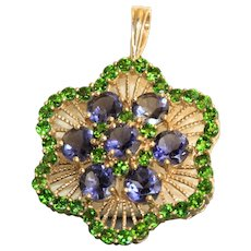 Estate 14K Iolite and Chrome Diopside Pendant/Enhancer