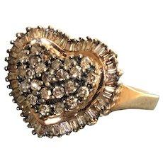 Estate 10K Chocolate Diamond Heart Ring