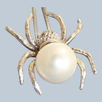Estate 14K 10 mm Pearl Spider Enhancer/Pendant
