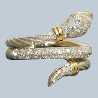 Estate Two Tone 18K Diamond Snake Ring