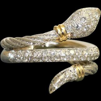 Estate Two Tone 18K Diamond Snake Ring