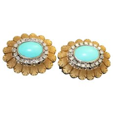 Estate 18K Turquoise and Diamond Sunflower Omega Earrings