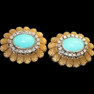 Estate 18K Turquoise and Diamond Sunflower Omega Earrings