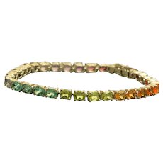 Estate Sterling Semi-Precious Rainbow Tennis Bracelet