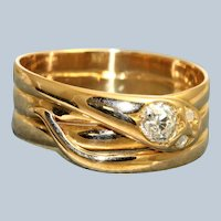 18K Old European Cut Diamond Snake Ring, 1888