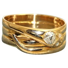 18K Old European Cut Diamond Snake Ring, 1888