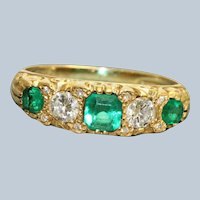 Estate 18K Victorian Revival Diamond and Emerald 5 Stone Ring