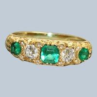 Estate 18K Victorian Revival Diamond and Emerald 5 Stone Ring