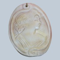 Estate Large Cameo Pendant with Sterling Enhancer Clasp