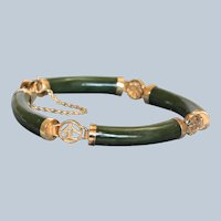 Estate Chinese Silver Gilt Jade Bracelet
