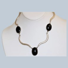 Estate Sterling Onyx Modernist Necklace - Mexico