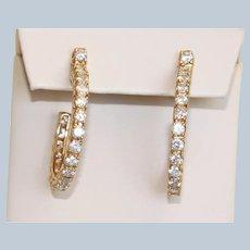 Estate 14K @1.9 CTW Diamond Hoop Earrings