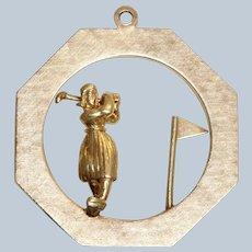 Estate 14K Gold Woman Golfer Charm/Pendant