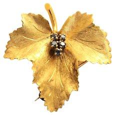 Estate 18K Sapphire Maple Leaf Brooch, Tiffany & CO