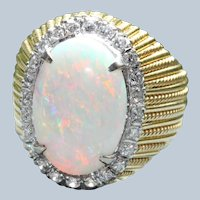Estate 14K Two Tone 4.92 CT Opal and Diamond Ring