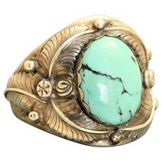 Estate Navajo Sterling Turquoise Man's Ring
