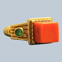 Estate Tiffany 18K Coral and Emerald Etruscan Revival Ring