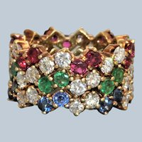 Estate 18K Sapphire Ruby and Emerald Diamond Eternity Bands