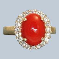 Estate 14K Red Coral Diamond Ring