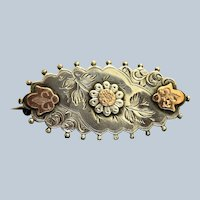 English1917 Sterling and Rose Gold Aesthetic Movement Brooch - Birmingham