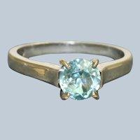 Estate 1 CT Platinum Blue Zircon Jeff Cooper Ring