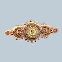 1908 15 CT English Split Pearl and Diamond Brooch - Chester