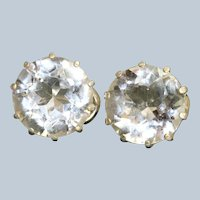 Estate Upcycled Sterling Rock Crystal Stud Earrings