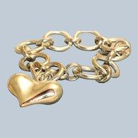 Estate Sterling Witch's Heart Toggle Bracelet